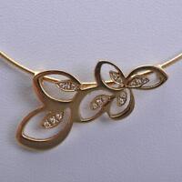 Hübsches Collier mit Brillanten, floral gestaltet, 14 Karat / 585er Gelbgold