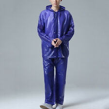 New Adult Raincoat Suit Outdoor Hooded Zip Rainwear Hiking Waterproof Tops+Pants