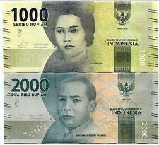 INDONESIA SET 2 PCS 1000 2000 RUPIAH 2016 / 2017 P NEW DESIGN UNC