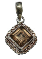 Sterling Silver Ethnic Asian Vintage Style Handmade Smoky Quartz Pendant Gift
