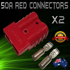 2 x RED ANDERSON STYLE 50 AMP PLUG/CONNECTORS suit 12V DUAL BATTERY 50a