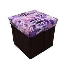 "Ottoman Decor Storage Cube Organizer Foldable Seat Chair Box 12"" Inch - 6 Styles"