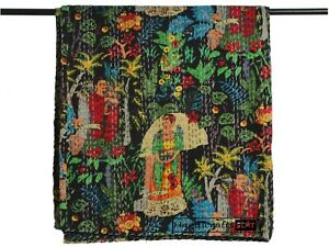 Bedding Kantha Quilts Cotton Bedspread Frida Kahlo Print Coverlet Bohemian Throw