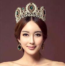 Vintage Wedding Bridal Green Crystal Queen Gold Crown Tiara Earrings Jewelry Set