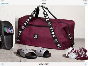 Victorias Secret PINK L Maroon Duffle Bag Tote Travel Gym Weekender NWT