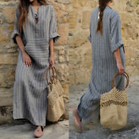 UK Womens Casual Linen Baggy Loose V-neck Long Maxi Dress Kaftan Plus Size 8-28