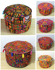22Inch Multi Patchwork Pouf Ottoman Cover Footstool Embroider Pouf Covers Throw