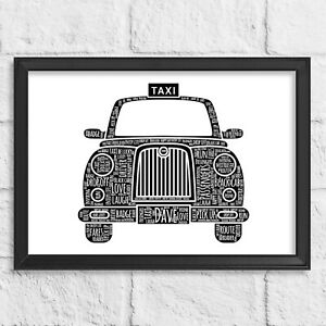 Personalised Black Taxi Driver Word Art Gift Retirement Thank you for him her
