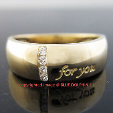 Real Genuine Solid 9K Yellow Gold Engagement Wedding Ring Band Simulated Diamond