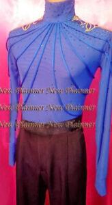 M397 hot sale Men Latin dance shirt crystals blue turtleneck L size new