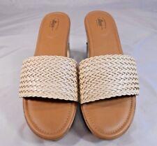 G.H. Bass Willow Womens Sandals Size 8 M Textile Platform Med Wedge Slides Beige