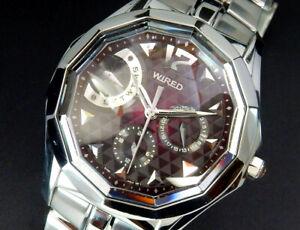 Working Seiko Wired Daydate Quartz Mens Purple Watch 5Y66 reloj montre uhr Japan