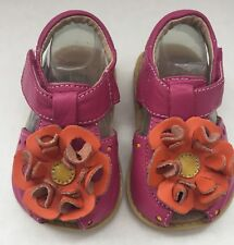 🌸Livie Luca Pink/Orange Blossom Leather Sandals Shoes Size 4