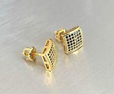 0.5 ct. VS1 Black Lab Diamond 18K Gold Filled Screw Back Stud Earrings 8mm