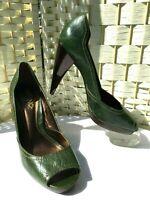 MONO 2 Ladies Green Full Grain Leather High Heel Peep Toe Court Shoes UK 6 EU 39