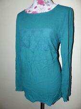 Neue Elegante Zero Damen Bluse Mit Spitze Gr 42 Türkisgrün Langarm NEU/OVP