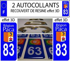 2 stickers plaque immatriculation auto TUNING DOMING 3D RESINE REGION PACA N° 83