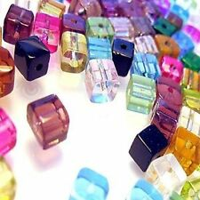 100 pieces 4mm Crystal Glass Square / Cube Beads - Mixed - A3019