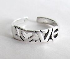 Sterling Silver Dainty word love adjustable toe ring