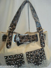 NEW!!  FLEUR DE LIS LEOPARD PRINT PURSE/HANDBAG-TAN