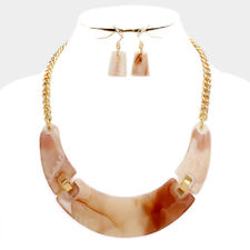 UNUSUAL Celluloid Gold Natural Shades Short Collar Necklace Set Rocks Boutique