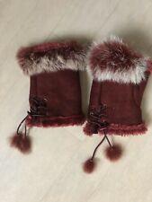 Ladies Winter Faux Fur Gloves Burgundy Mittens Rabbit Fur One Size VGC Warm Hand