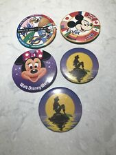 Lot of 5 Walt Disney World Pin Back Buttons