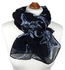 Écharpes et châles foulard noir avec des motifs Empreintes animales pour femme