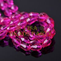 New 50pcs 7X5mm Teardrop Faceted Crystal Glass Spacer Loose Beads Rose