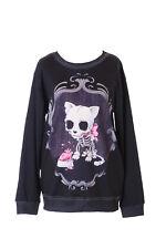 TY-WS-0178 Cat Katze Skellet Skull schwarz Goth Punk Sweatshirt Pullover Kawaii