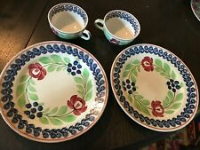 Vintage Societe Ceramique Maestricht Holland-2 Tea Cup's and 2 Dinner Plates