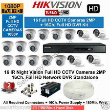 HIKVISION Full HD (2MP) 16CCTV Cameras & 16Ch.Full HD DVR Kit (All Accessories)