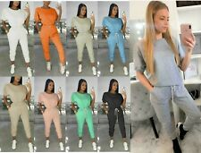 Women's Ladies Cuffed Short Sleeve Boxy Top Bottom Lounge Wear Tracksuit 2pc Set