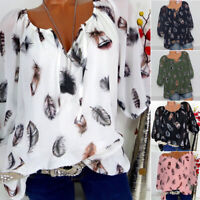 Women Plus Size Half Sleeve Blouse Feather Printed V Neck Baggy T Shirts Tops