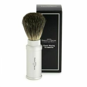Edwin Jagger Travel Size Silver Aluminum Pure Badger Shave Brush