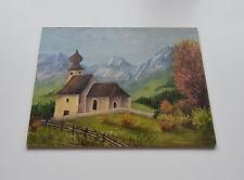 KIRCHE UND BERGLANDSCHAFT Original Ölgemälde Ölbild Bild Gemälde