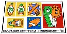 Lego® Custom Sticker for Fabuland set 3672 - Hotel Restaurant (1982)