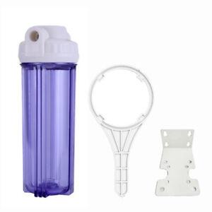 "Clear Standard 10 x 2.5"" Water Filter Housing 1/2 FNPT w Wrench & Bracket"