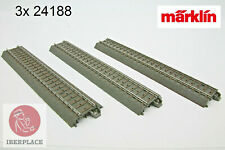 "H0 escala 1:87 ho trenes via recta C C-Gleis 188,3mm 7-13/32"" 3x Märklin 24188"