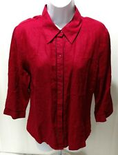 Old Navy Womens Blouse Medium NWT 100% Linen Button Long Sleeve Red Burg Top