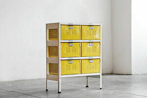2 x 3 Vintage Locker Basket Unit Refinished in Mellow Yellow and White