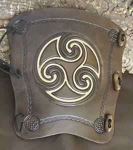 Embossed 2 tone Celtic swirl leather archery arm guard,choose colour and size
