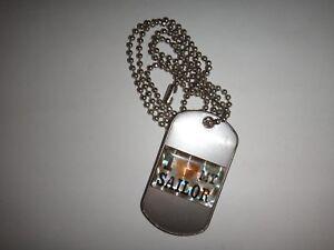 I Love My Marin Surélevées Insignes Acier Inoxydable Chien Balise + Balle Chain