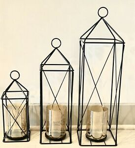 Elegant Lantern Decorative Candle Pillar Patio Lanterns Set Black Hanging Qty:3