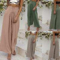 Women Palazzo High Waist Wide Leg Culottes Pants Yoga Harem Baggy Loose Trousers