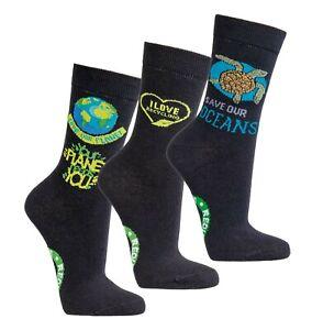 Save the Planet 50% recycelte Baumwolle Socken Damen Herren Größe 36-41 3/6 Paar