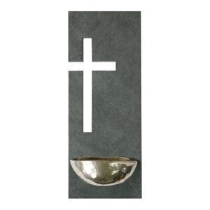 Weihwasserkessel Kruzifix Schiefer Bronze Neusilber 23 x 9 cm Weihbecken Zuhause