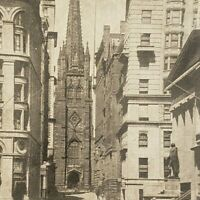 Wall Street & Trinity Church New York City Photo Card Street Scene Stereoview