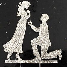Engagement Silhouette Proposal Rhinestone Cake Topper Wedding Crystal Bling