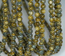 6MM OLIVE GARDEN SHELL GEMSTONE OLIVE GREEN ROUND LOOSE BEADS 15""